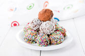 Colorful chocolate truffles — Stock Photo