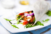 Healthy and tasty tortilla wrap sandwiches — Stock Photo