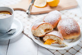 Freshly baked sweet buns with jam — Stock Photo