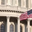 United States Capitol Building and flag close up — Stock Video #42629975