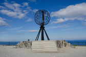 Symbolic globe at the North Cape/ Nordkapp — Stock fotografie