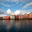Old storehouses along Nidelva river side, Trondheim — Stock Photo #18039329