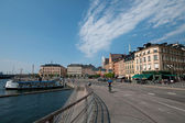Stockholm old town and pier with boats, Sweden — Stock Photo