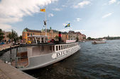 Excursion boat at the pier, Stockholm, Sweden — Stock Photo