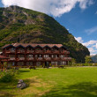 Small hotel between mountains, Sognefjord, Norway — Stock Photo