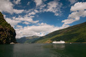 Cruise ship, Sognefjord - Sognefjorden, Norway — Stock Photo
