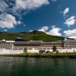 Cruise ship at Flaem harbour & train station Sognefjord - Sognefjorden, Norway — Stockfoto