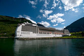 Huge cruise ship, Norway harbour — Stock Photo