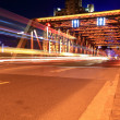Light trails on the garden bridge in shanghai - Stock Photo