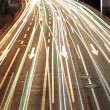 Closeup of the light trails on road — Stock Photo