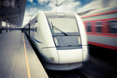 Modern high speed train waiting for departure — Stock Photo