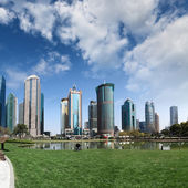 Park and skyscrapers under the blue sky — Stock Photo