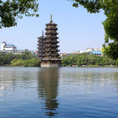 Banyan lake pagodas — Stock Photo