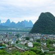 Stock Photo: Overlooking yangshuo county town