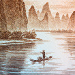 guilin scenery on chinese currency — Stock Photo