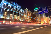 Light trails on the street in shanghai bund — Стоковое фото