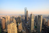 Aerial view of shanghai at dusk from the oriental pearl tower — Stock Photo