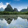 Karst mountain landscape and reflection — Stock Photo