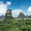 Stock Photo: Yangshuo county town against blue sky