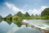 Beautiful karst landform with the yulong river — Stock Photo