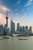 Shanghai skyline with sunset — Stock Photo
