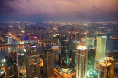 Overlooking shanghai at night — Stock Photo