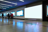 Advertising screen in subway station — Stock Photo