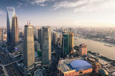 Modern metropolis of shanghai at dusk — Stock Photo