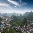 Stock Photo: Karst mountains around yangshuo county