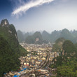 Aerial view of the yangshuo county — Stock Photo
