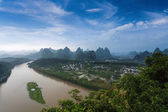 Beautiful karst landform and lijiang river — Stock Photo