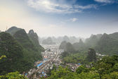 Overlooking the yangshuo county at dusk — Stock Photo