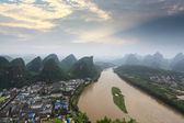Karst landform and lijiang river at sunrise — Stock Photo