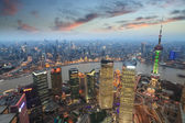 Overlooking shanghai at evening — Stock Photo