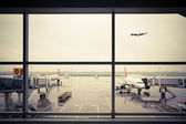 Airport outside the window scene — Stock Photo