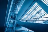 Escalator in modern airport terminal — Stock Photo