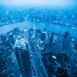 Stock Photo: Shanghai at dusk with blue tone