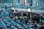 Bil trafikstockningar i rusningstrafik morgon — Stockfoto