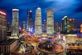 Shanghai lujiazui finance and trade zone skyline at night — Stock Photo