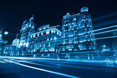 Classical buildings at night in shanghai — Stock Photo