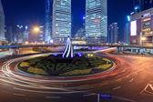 Roundabout traffic at night — Stock Photo