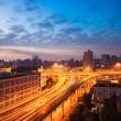 Elevated road at sunrise - Stock Photo