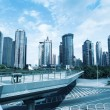 Sightseeing footbridge in shanghai downtown — Stock Photo