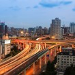 Urban highway overpass at dusk — Stock Photo