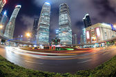 Night scene of shanghai with fish-eye view — Stock Photo