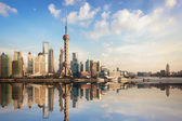 Shanghai skyline at dusk — Stock Photo