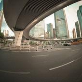 Pedestrian bridge in shanghai downtown — Stock Photo