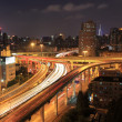 Stock Photo: City highway overpass at night
