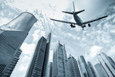 Flight and modern building — Stock Photo
