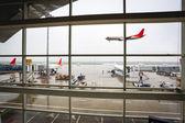 Venster van de luchthaven met de aankomst van de vlucht — Stockfoto